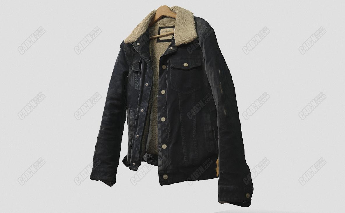 C4D羊毛皮夹克衣服模型