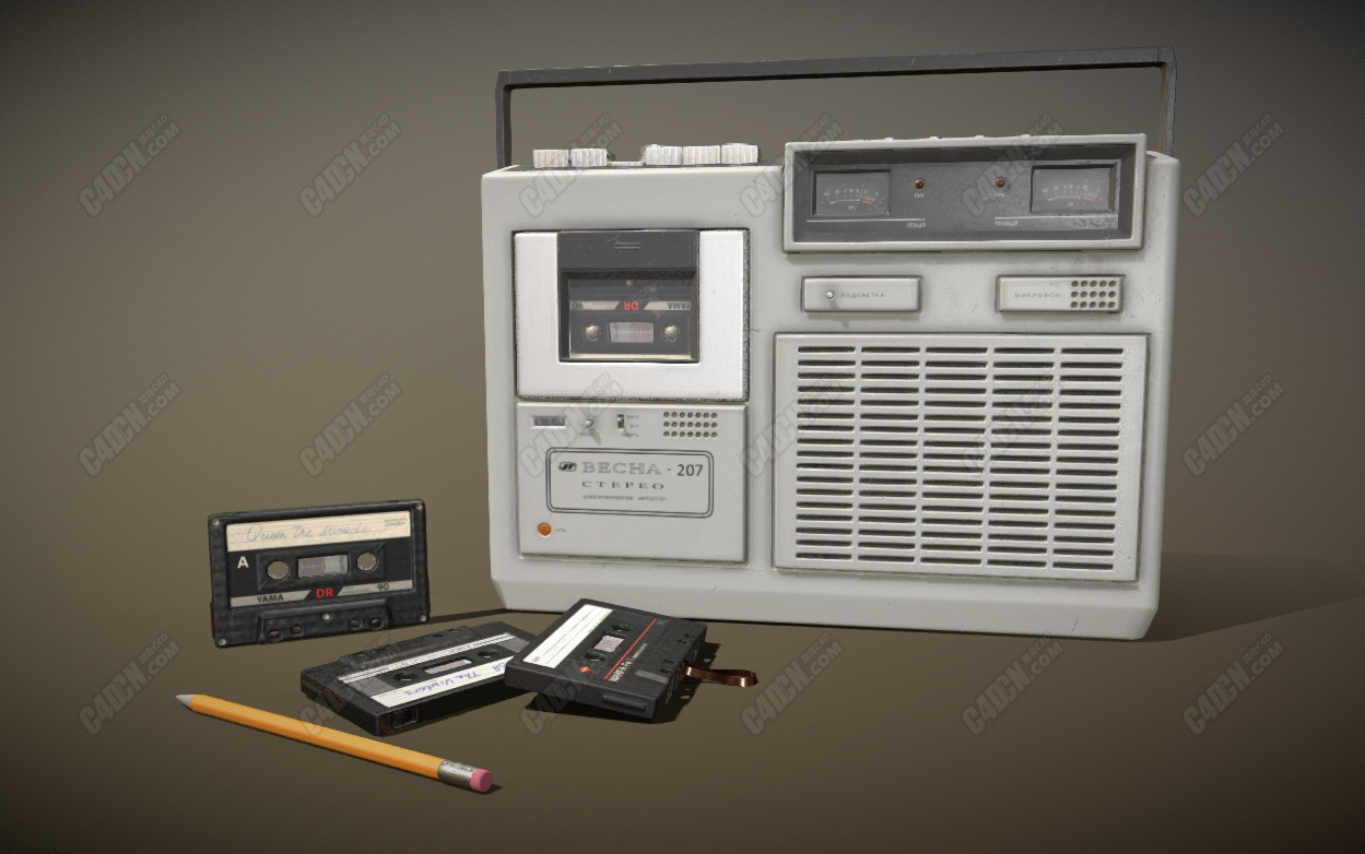C4D苏联录音机磁带铅笔模型