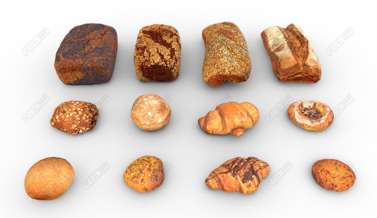 12个精美C4D烘焙面包食品模型