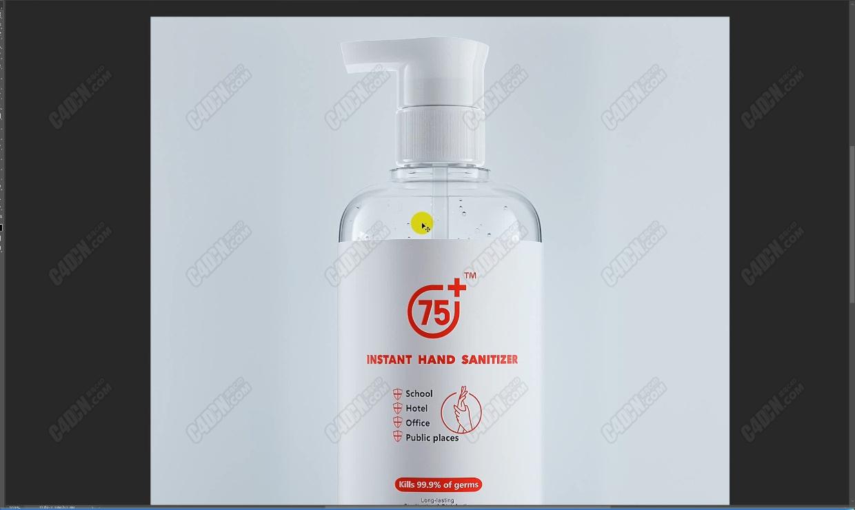 C4D平面电商洗手液瓶子制作与渲染