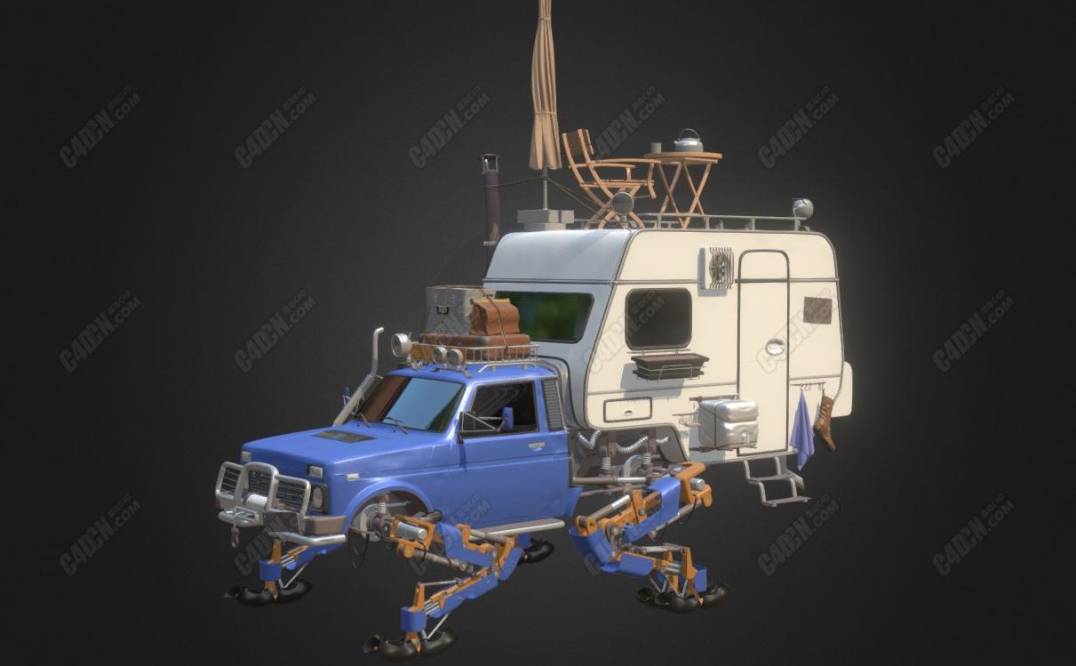 科幻C4D改装机械脚旅行汽车模型