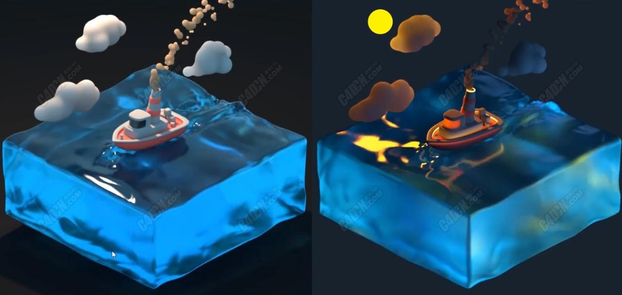 中文C4D卡通海洋船只乘风破浪动画渲染教程