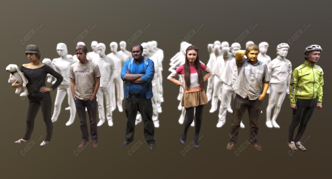 C4D 6个现代低面模人物模型合集