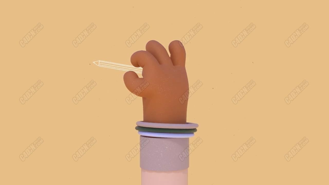 C4D卡通手指转笔动画建模绑定教程