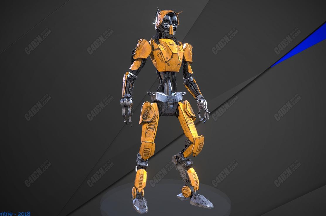 C4D变形金刚人形机甲模型包含动画和绑定