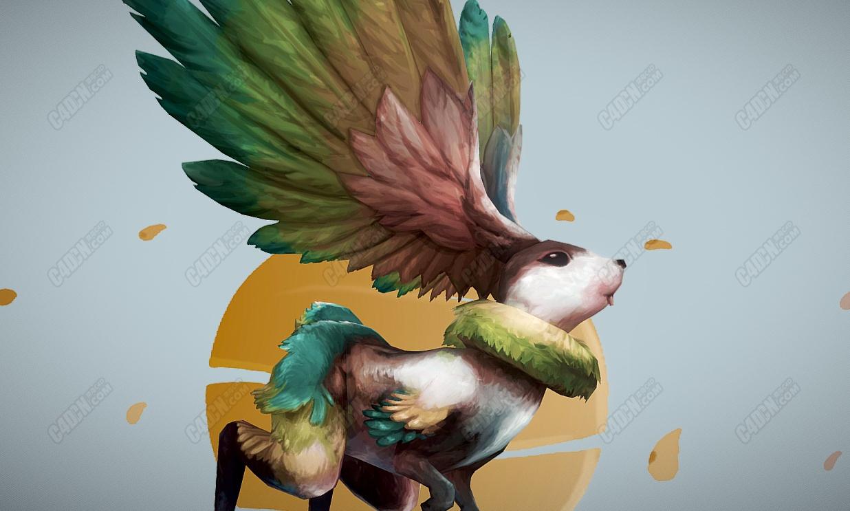 C4D飞天兔子怪物模型