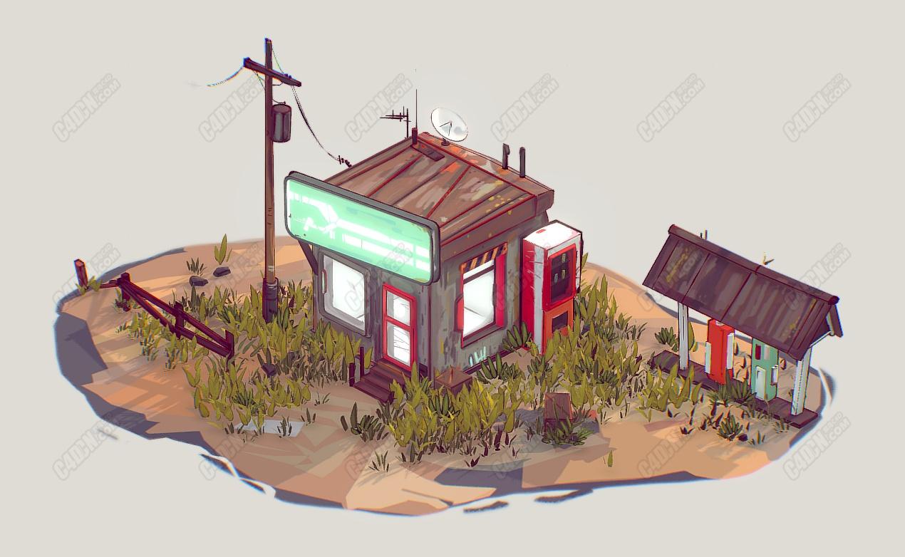 Blender沙漠中的加油站卡通场景模型