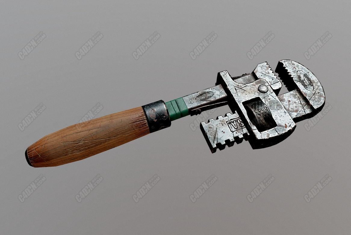 C4D破旧刮伤扳手工具模型
