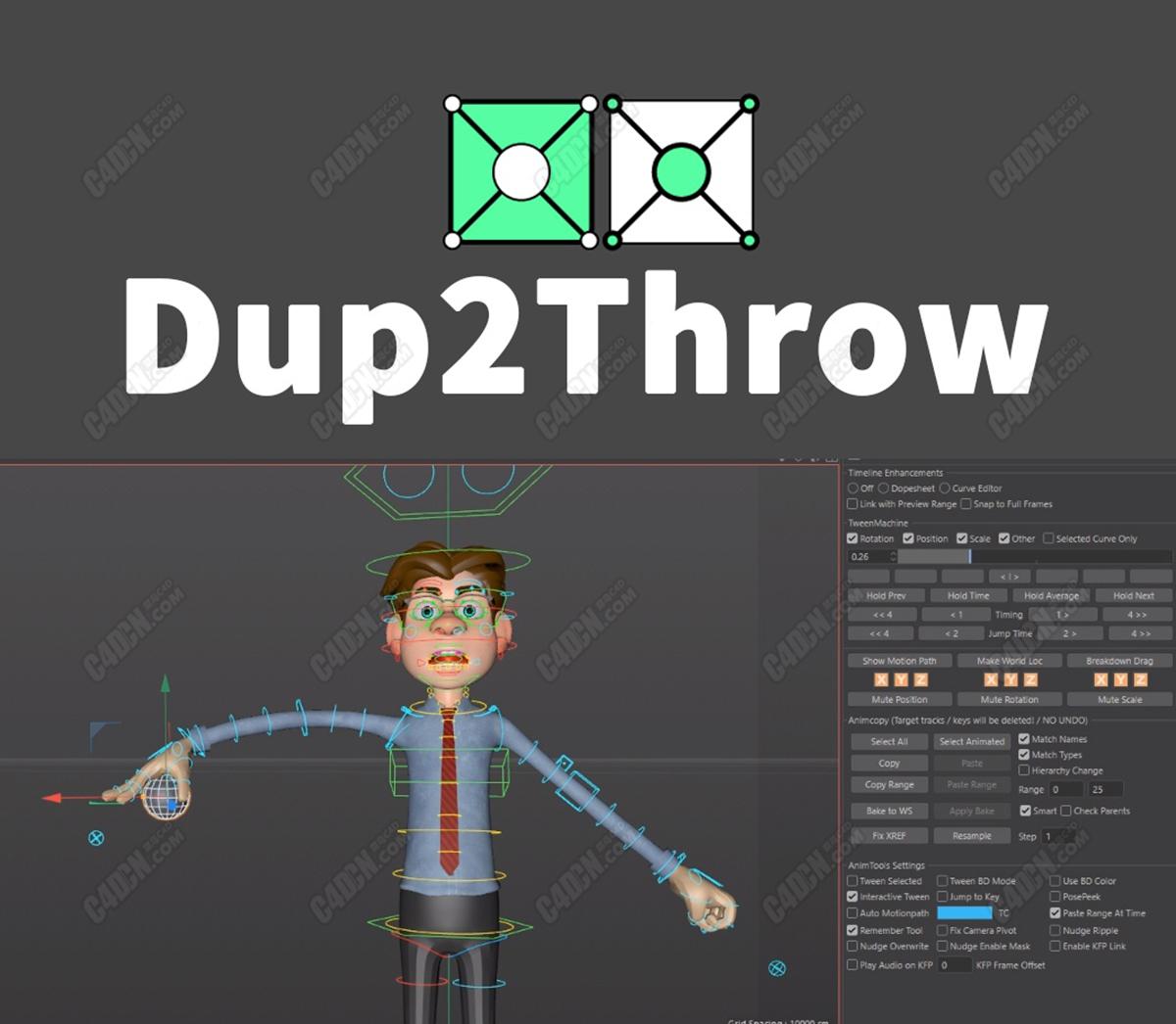C4D角色动画扔东西绑定脚本 Dup2Throw