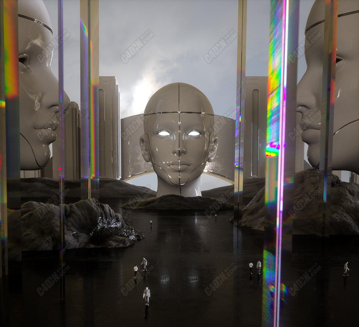 Octane渲染器C4D科幻空间雕塑场景工程