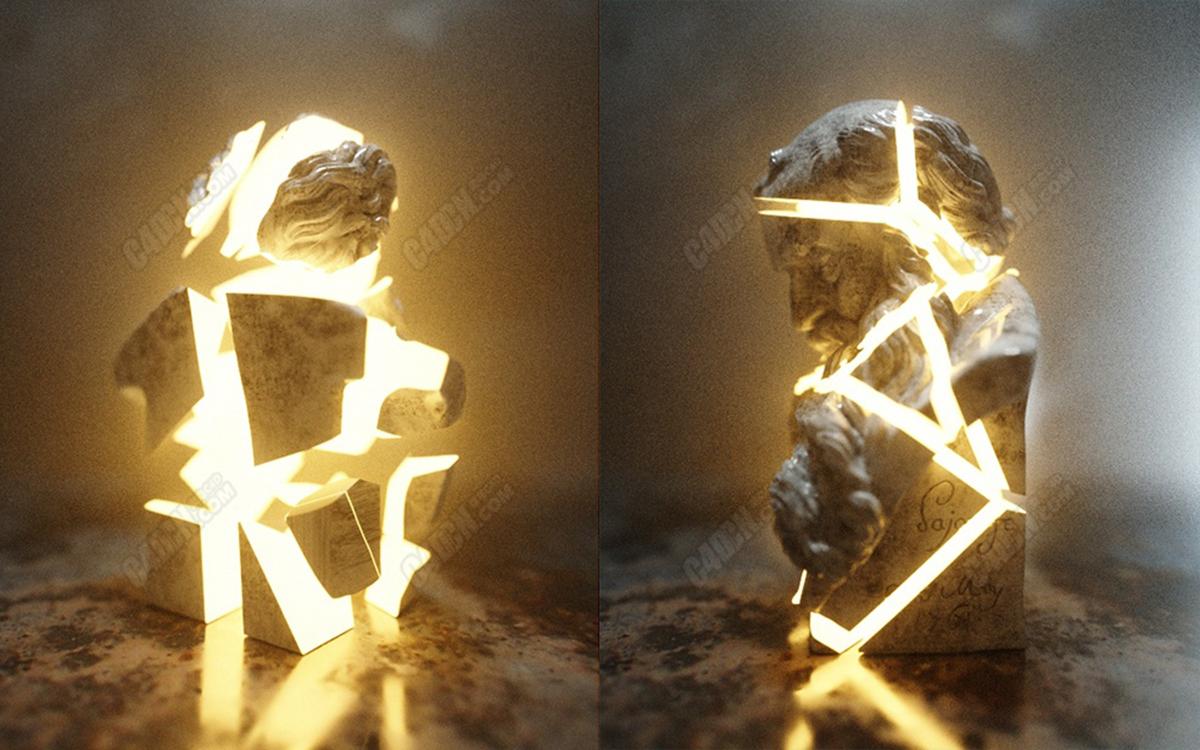 Octane渲染器C4D破碎雕塑碎块旋转合并动画工程