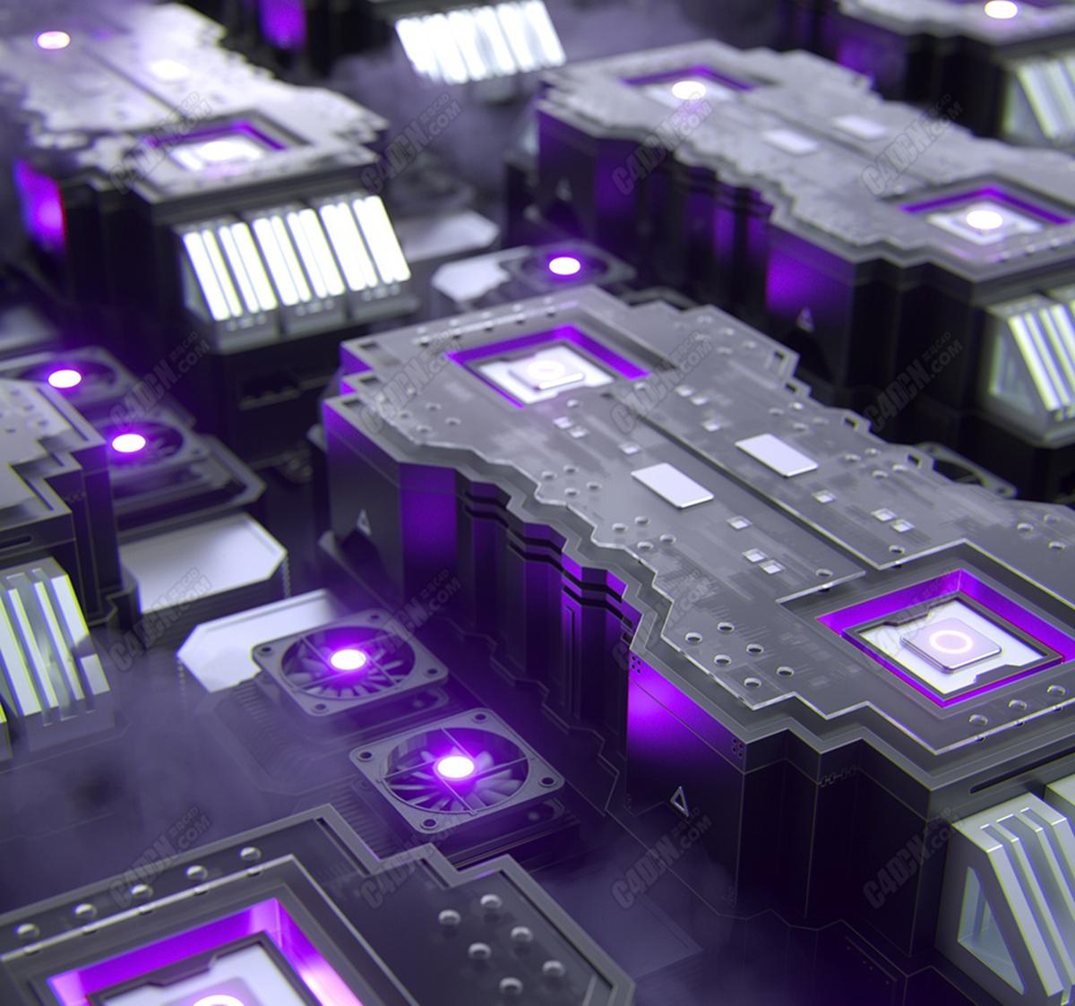 C4D科技感电脑主机排风扇场景工程模型