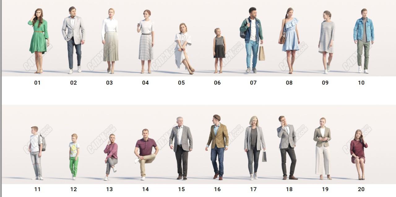 20组C4D建筑漫游不同姿势人物素材模型合集