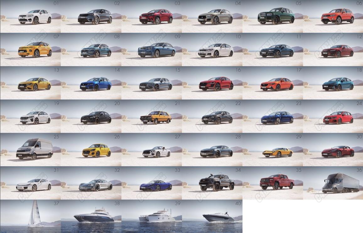 40组高精度写实汽车交通模型合集下载