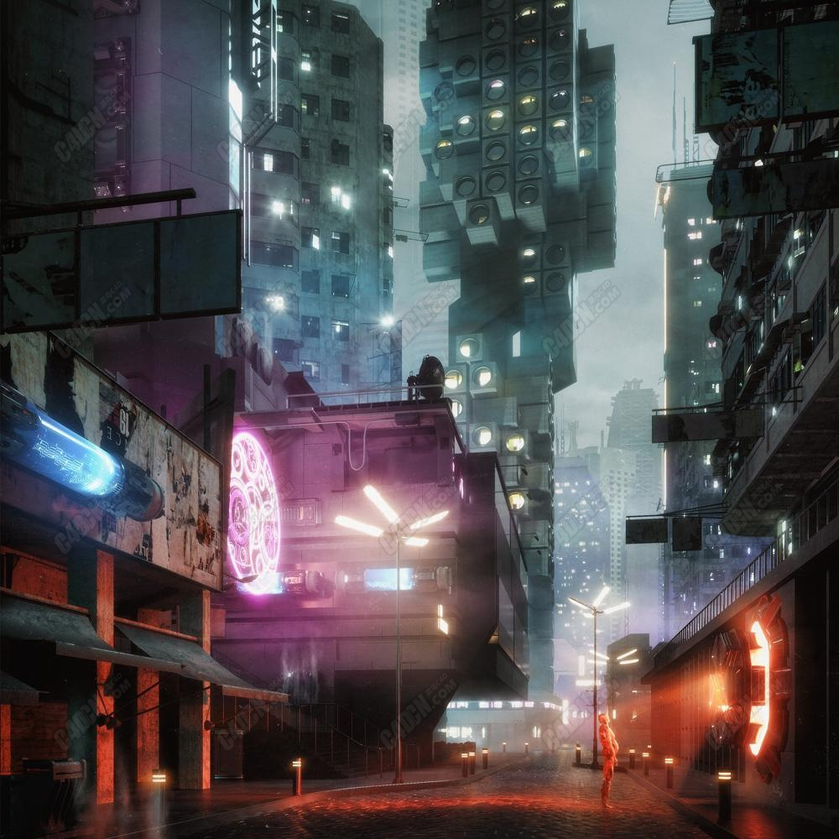 C4D霓虹灯未来都市科幻城市模型包
