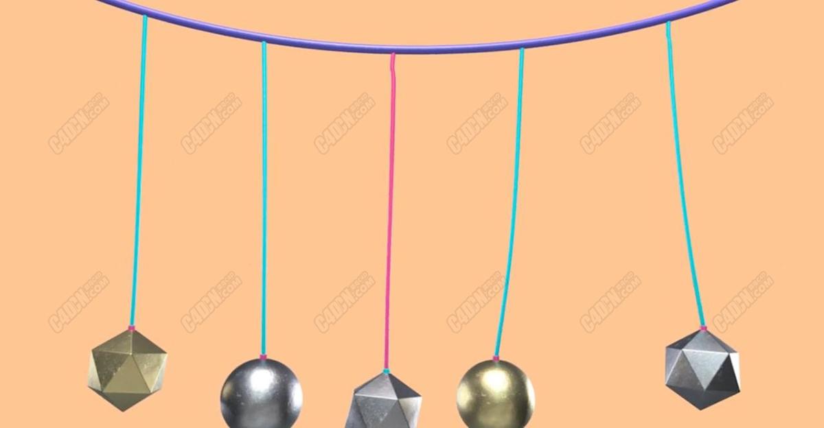 C4D样条动力学绑定物体悬挂教程
