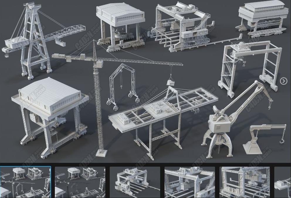 11个C4D建筑工地起重机工业模型