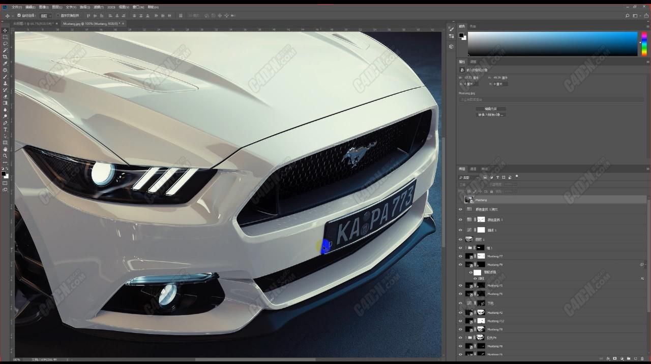 【C4D教程】福特野马汽车材质渲染及产品效果表现