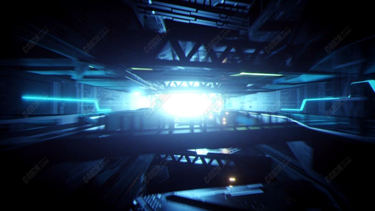 C4D快速穿梭钢铁工厂动画工程模型