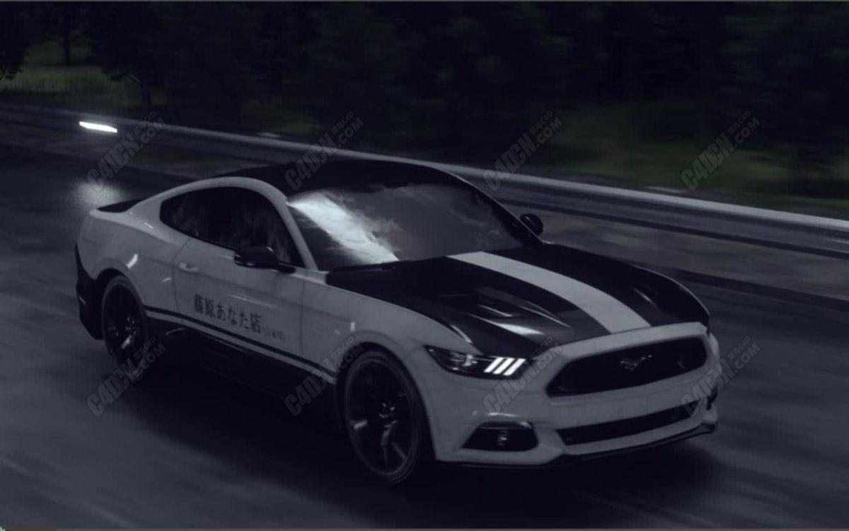 C4D头文字D赛车票车镜头动画场景制作渲染