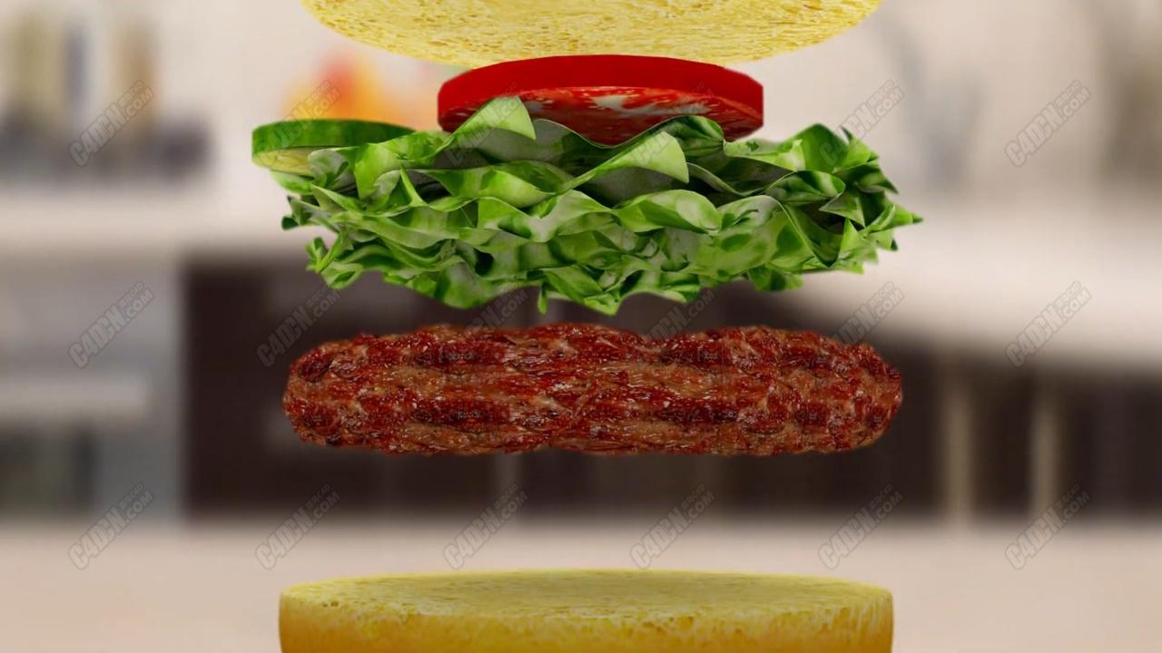 C4D汉堡包下落广告动画教程