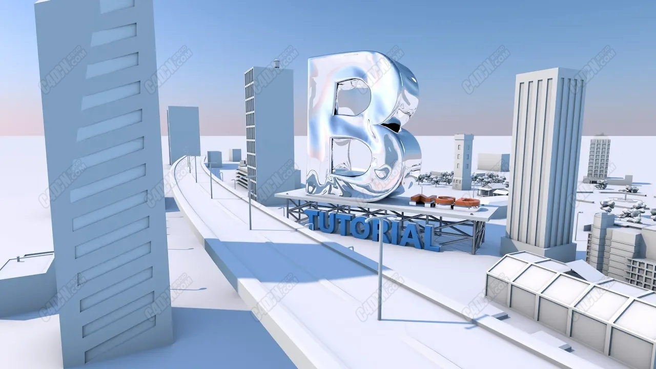 C4D三维抽象布料文字动力学城市背景教程
