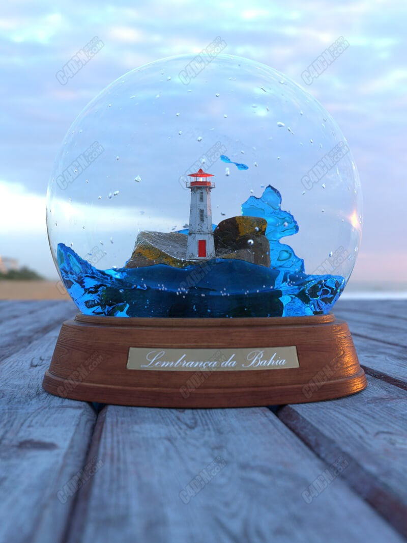 C4D玻璃海洋灯塔雪景球模型