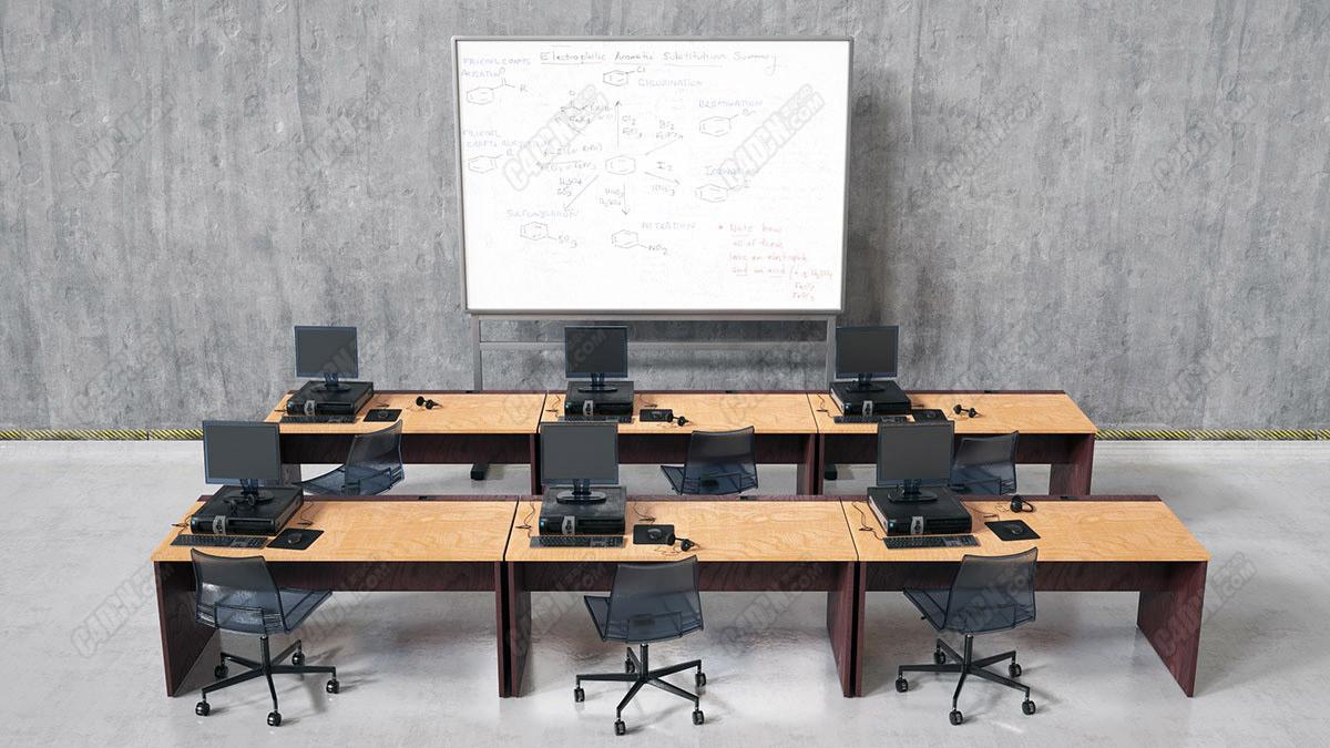 C4D白板微机房教室模型