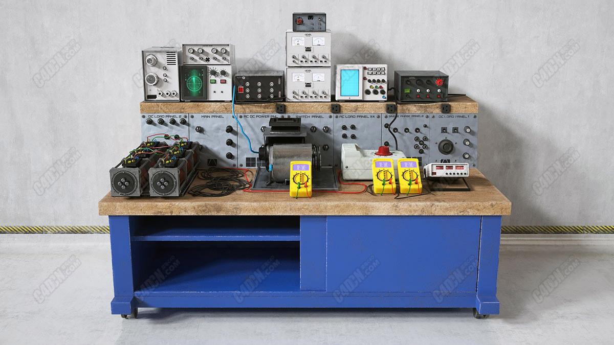 C4D各种电路表电子仪器设备实验用品模型