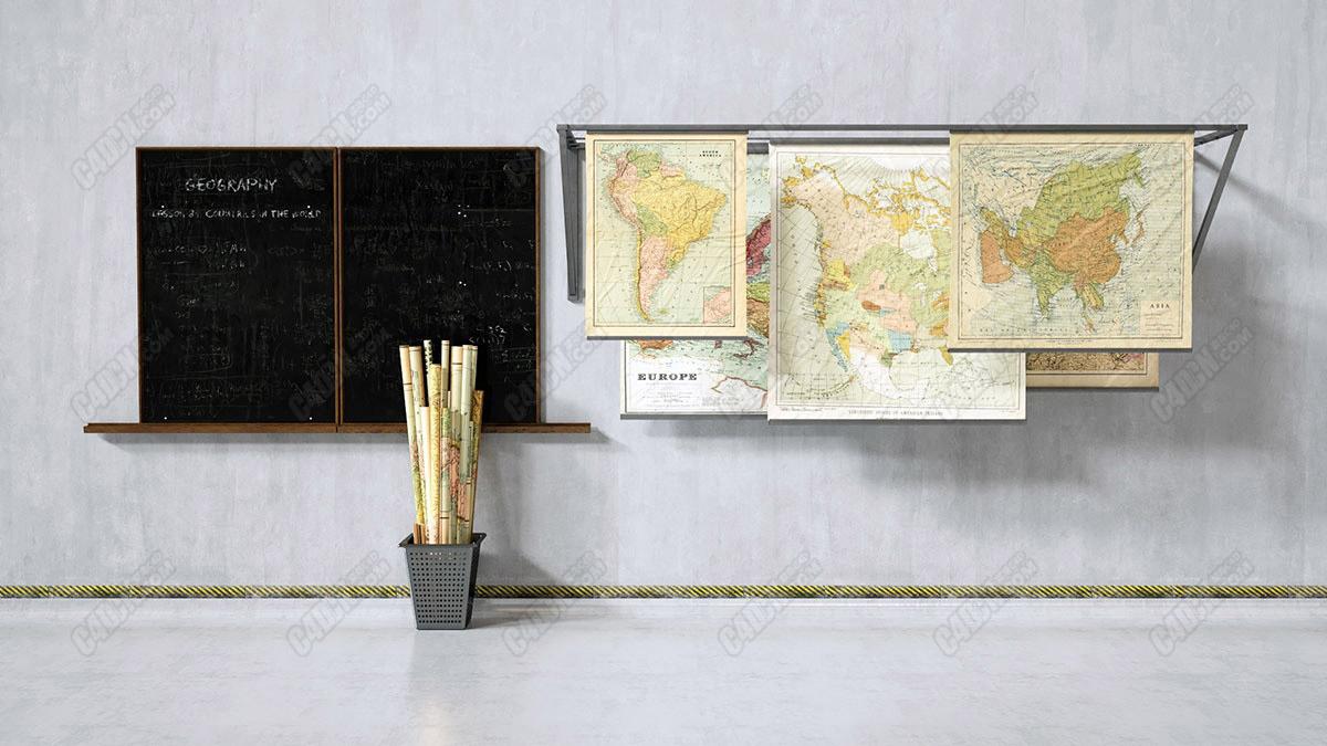 C4D地理课教室世界地图垃圾篓黑板模型