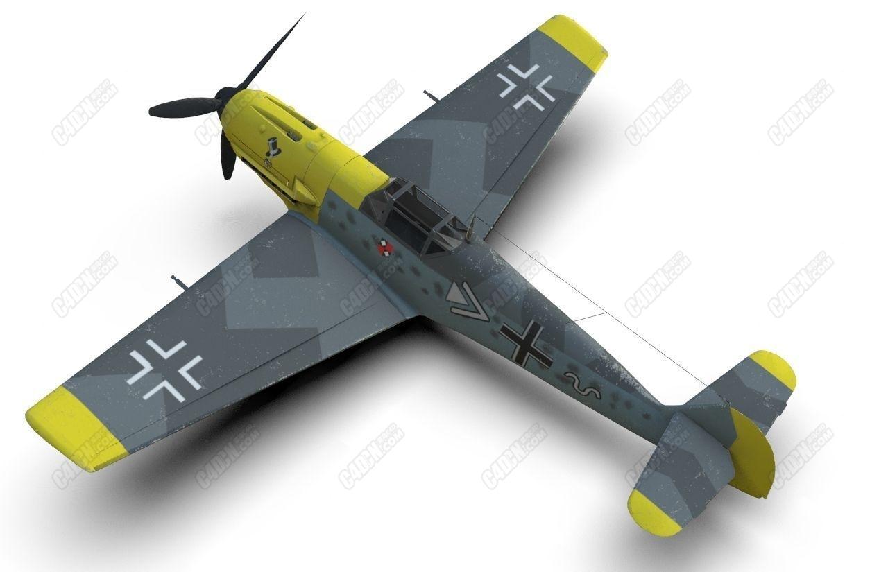 二战C4D梅塞施密特Bf 109德国战斗机模型