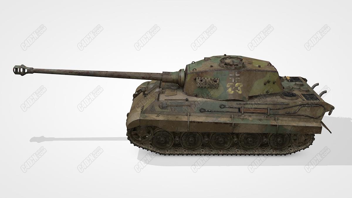 C4D生锈的23号二战坦克装甲车模型