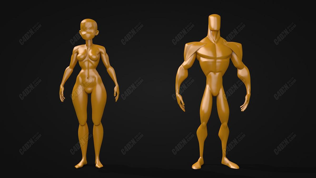 男性女性卡通精壮小人玩偶模型