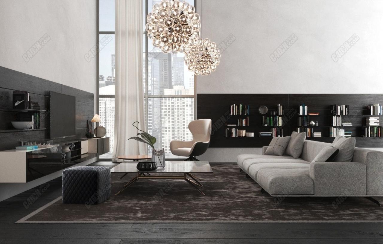 C4D室内工程-沙发电视墙 BeInspiration 70 3D model