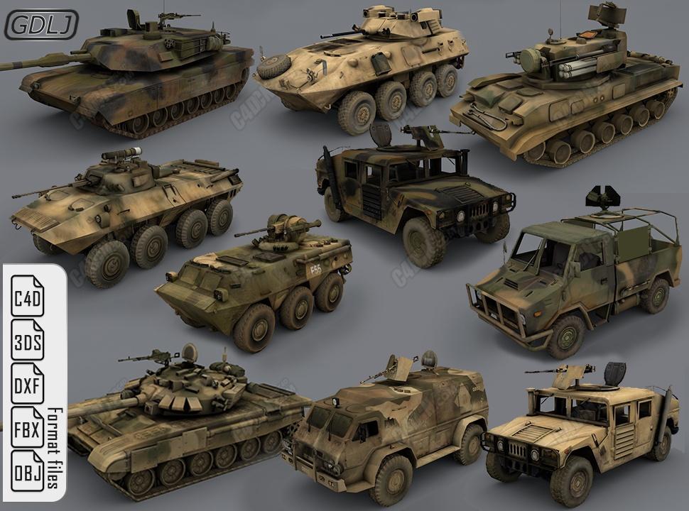 10辆C4D军用坦克战车军事模型下载