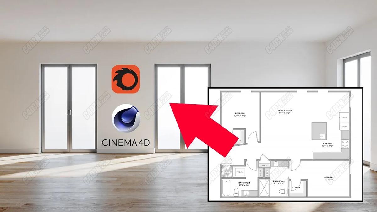 C4D简单平面图参考建模室内渲染教程