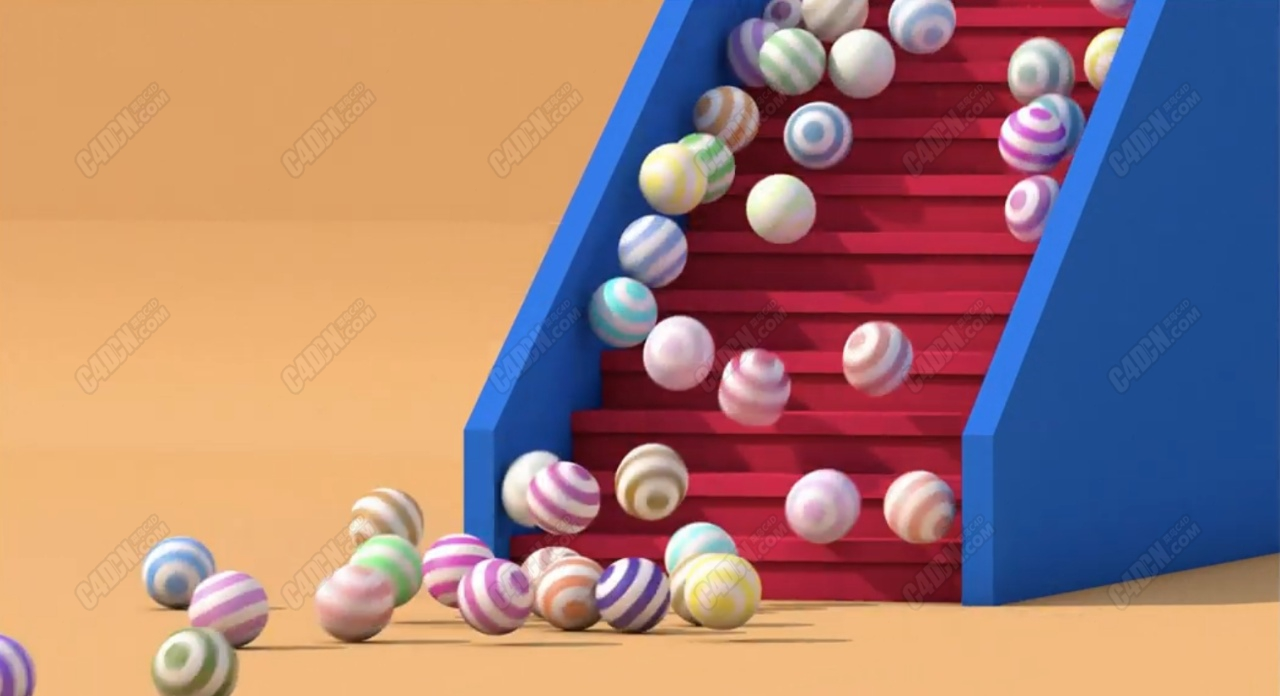 从楼梯滚落的彩球动力学C4D教程 Cinema 4D Dynamics Falling Balls Tutorial