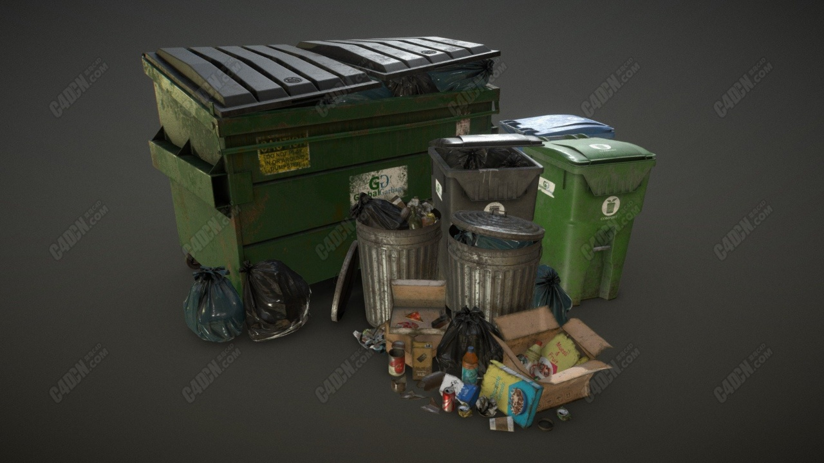 C4D城市垃圾箱环卫模型 Urban Trash Pack Vol 3 Low Poly
