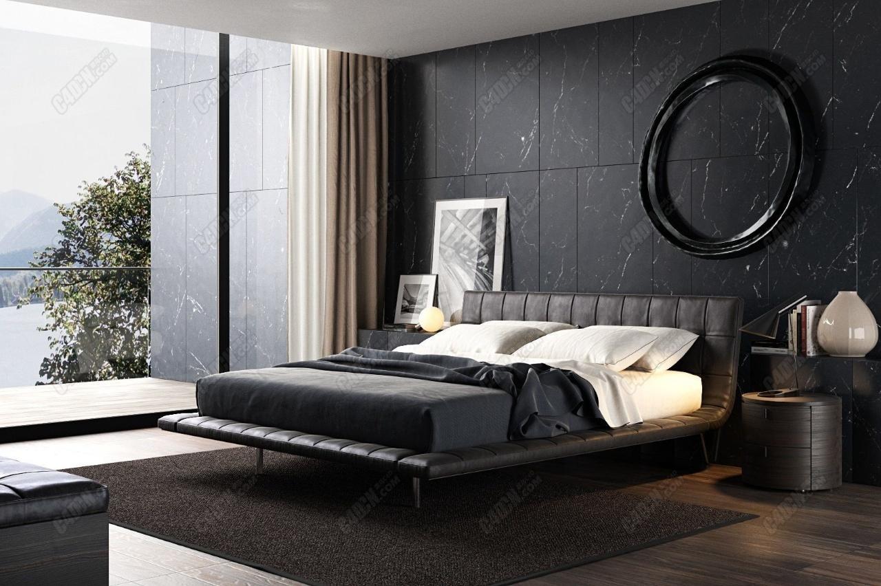 C4D精品大气室内卧室效果图渲染工程