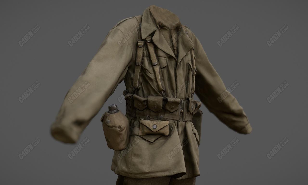 C4D美国二战军官士兵战服模型 C4D American WWII officers and soldiers uniform model