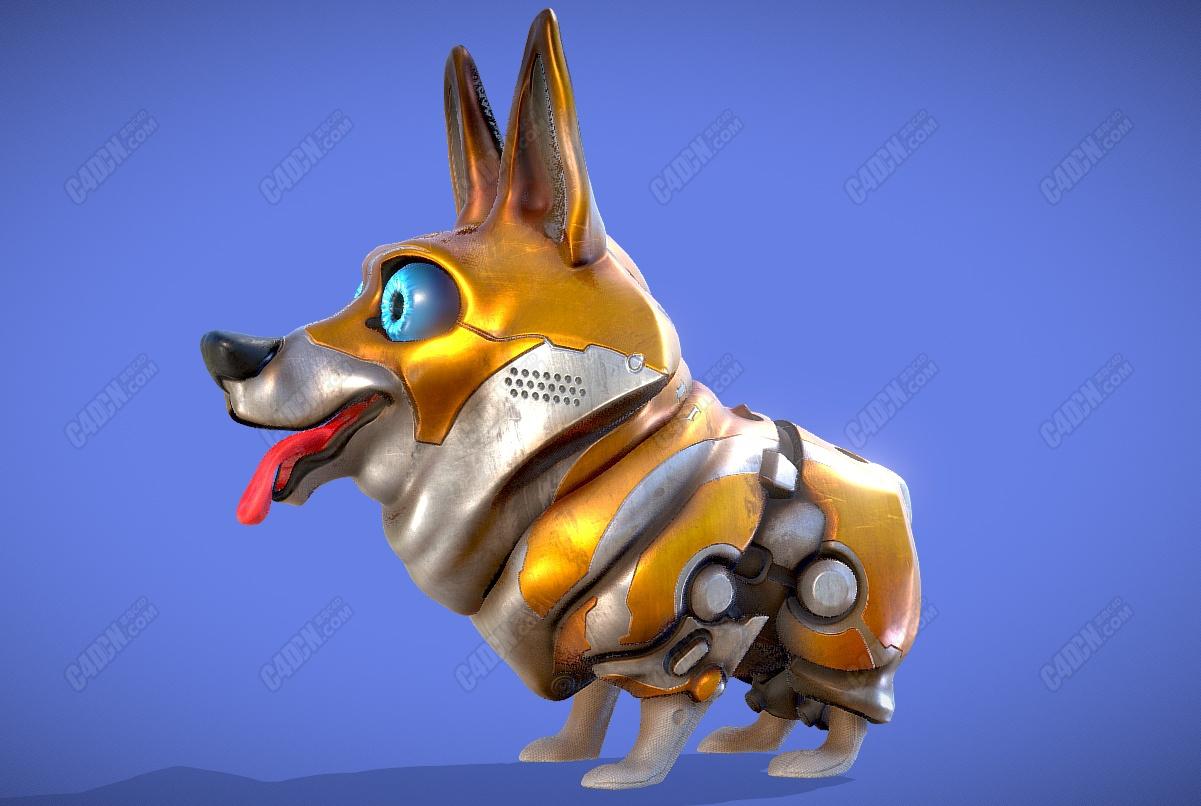 C4D电子数码机器狗模型 Cyberdoggo