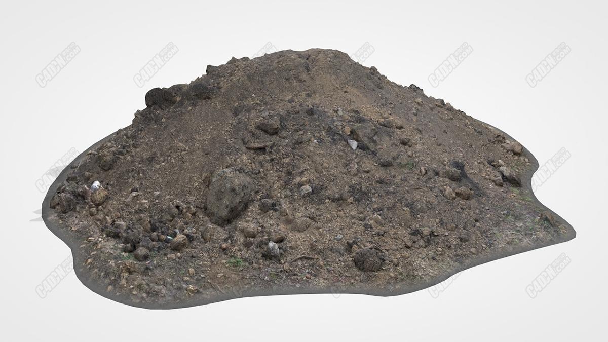 C4D废弃建筑渣土堆 Pile Of Clay