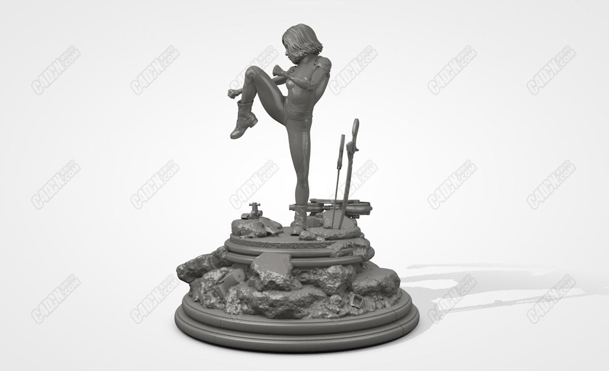 阿丽塔战斗天使雕塑模型 Alita Battle Angel C4D Model