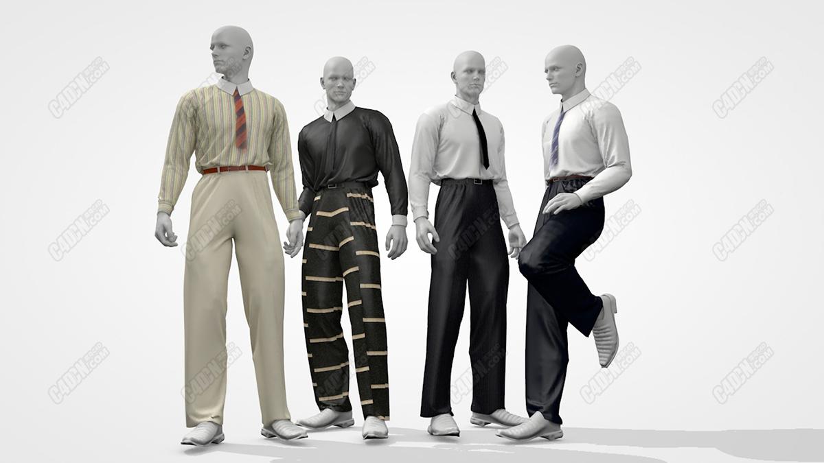 4个男性服装展示模特模型 Classic men's clothing