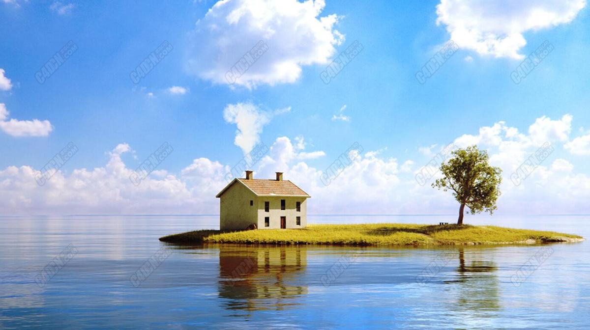 C4D海中小屋场景制作与渲染