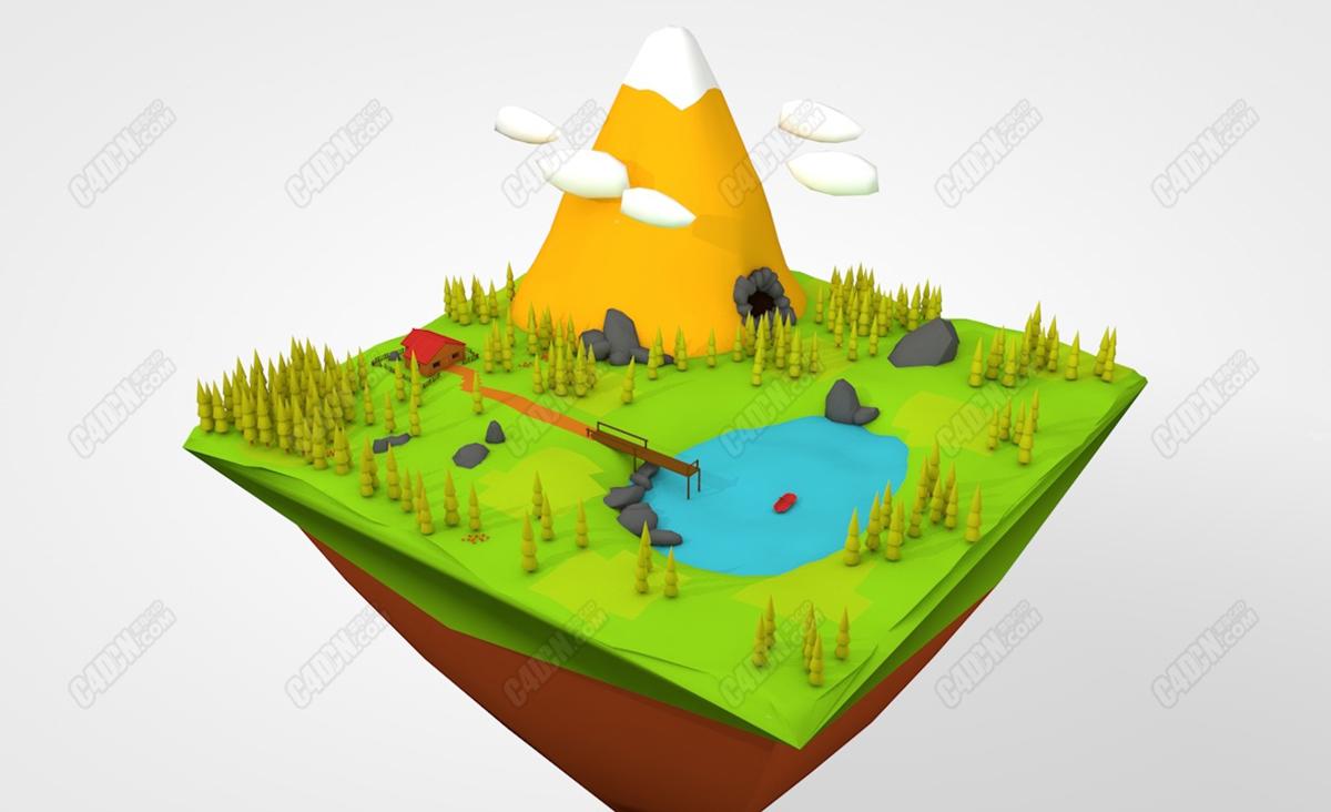 C4D卡通野外雪山松树林胡泊模型