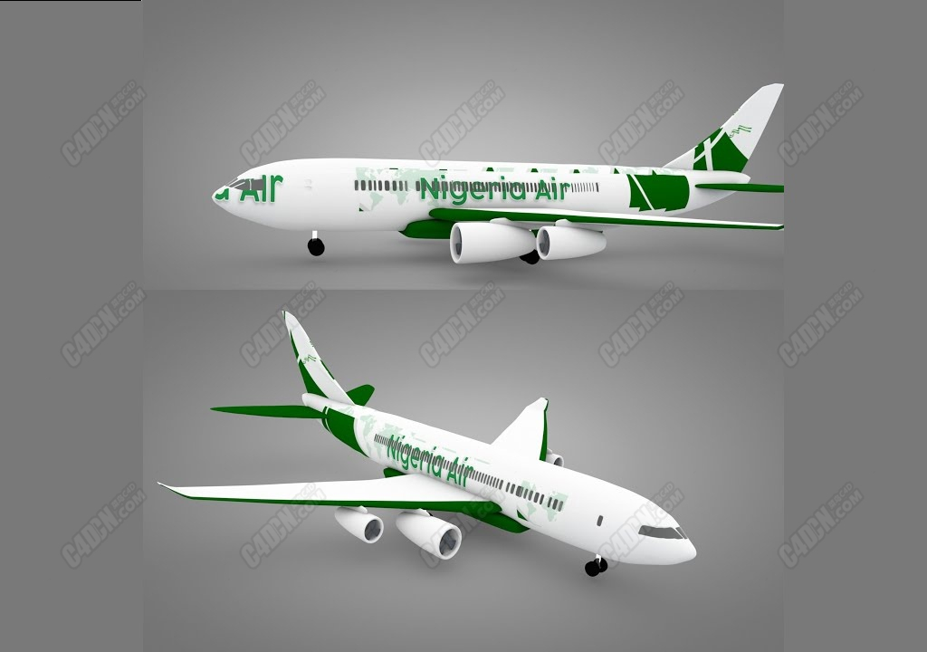 C4D波音客机大型飞机建模教程 Modeling a Boeing Plane Nigerian Air in Cinema 4d