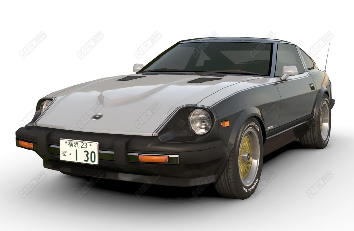 C4D双门复古跑车模型