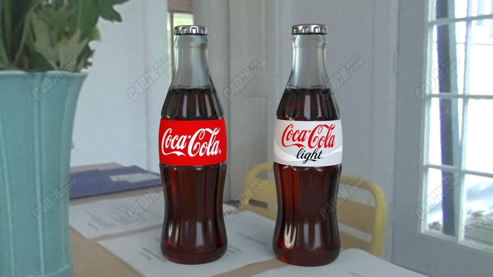 C4D玻璃瓶装可口可乐碳酸饮料模型