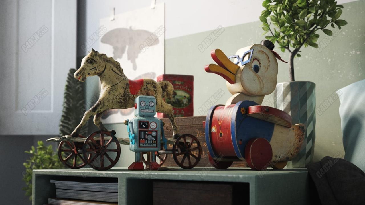 32个C4D老房子家具旧玩具模型合集